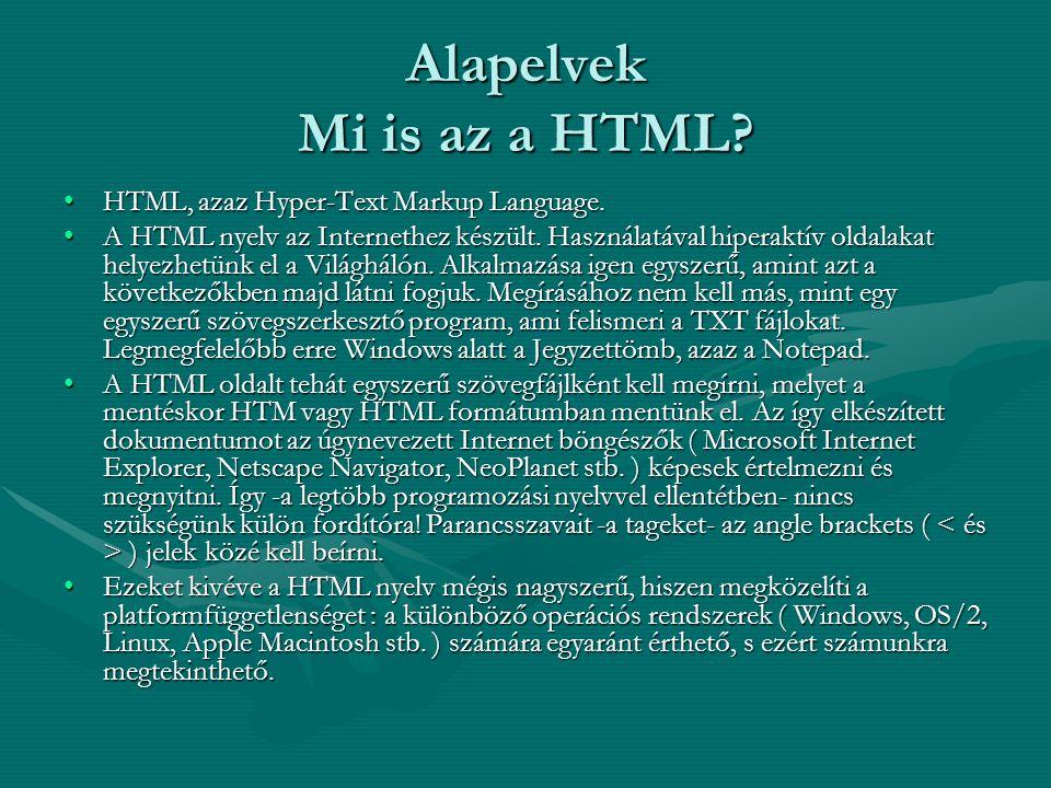 Alapelvek A nyelv szintaktikája A HTML nyelv szintaktikája nagyon egyszerű.