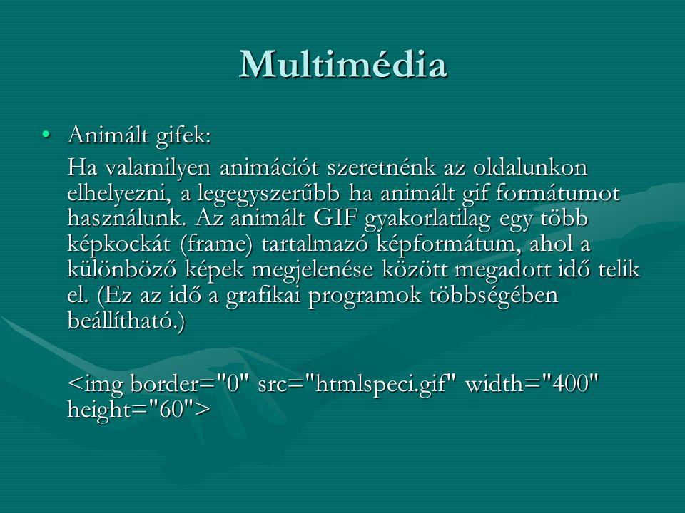 Multimédia Animált gifek:Animált gifek: Ha valamilyen animációt szeretnénk az oldalunkon elhelyezni, a legegyszerűbb ha animált gif formátumot használunk.