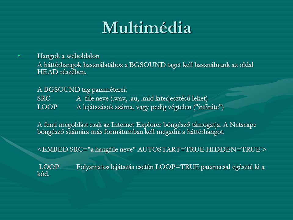 Multimédia Hangok a weboldalonHangok a weboldalon A háttérhangok használatához a BGSOUND taget kell használnunk az oldal HEAD részében.