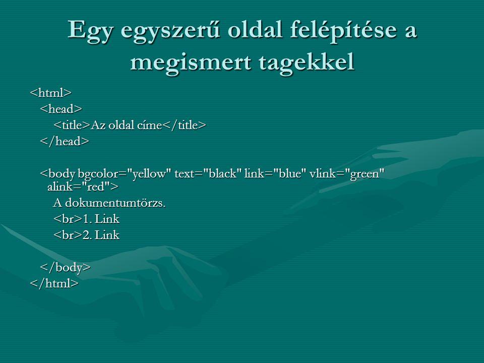 Egy egyszerű oldal felépítése a megismert tagekkel <html> Az oldal címe Az oldal címe A dokumentumtörzs.