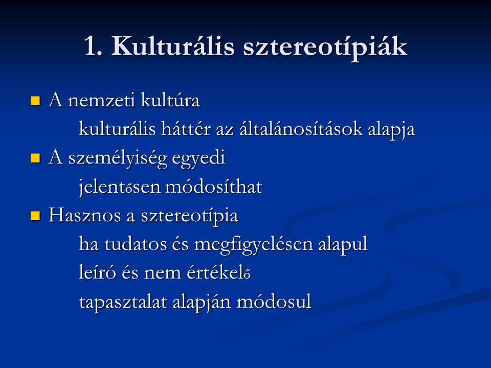 1. Kulturális sztereotípiák A nemzeti kultúra A nemzeti kultúra kulturális háttér az általánosítások alapja A személyiség egyedi A személyiség egyedi
