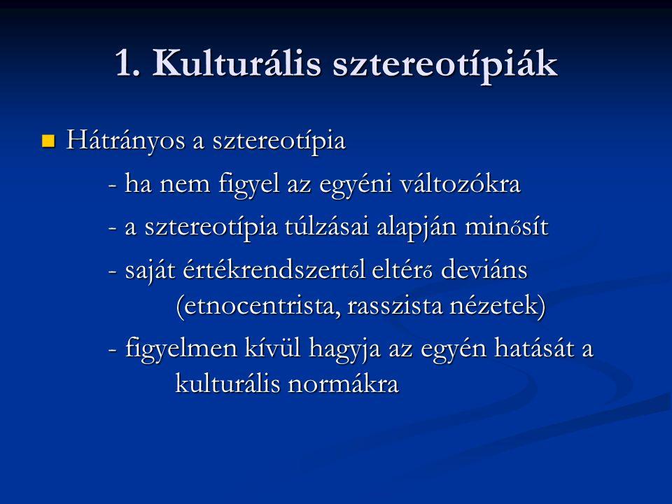 1. Kulturális sztereotípiák Hátrányos a sztereotípia Hátrányos a sztereotípia - ha nem figyel az egyéni változókra - a sztereotípia túlzásai alapján m
