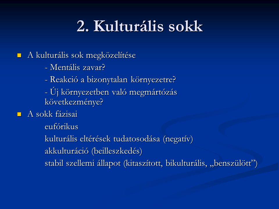 2.Kulturális sokk A kulturális sok megközelítése A kulturális sok megközelítése - Mentális zavar.