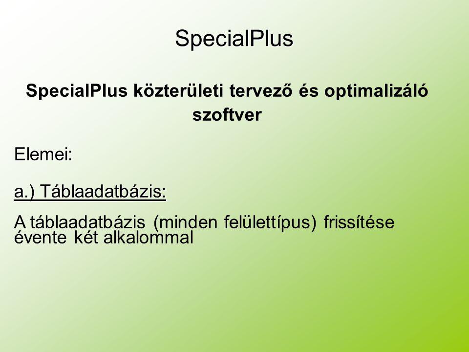 SpecialPlus közterületi tervező és optimalizáló szoftverElemei: a.) Táblaadatbázis: A táblaadatbázis (minden felülettípus) frissítése évente két alkalommalSpecialPlus