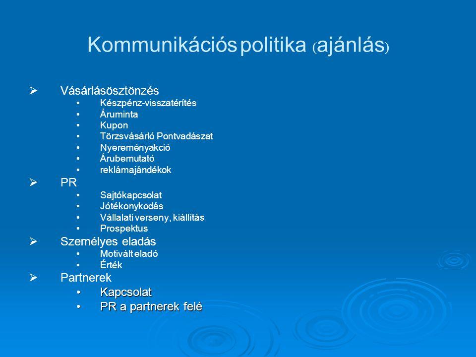 Kommunikációs politika ( ajánlás )   Vásárlásösztönzés Készpénz-visszatérítés Áruminta Kupon Törzsvásárló Pontvadászat Nyereményakció Árubemutató re