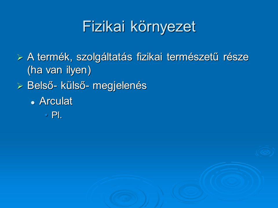 Fizikai környezet  A termék, szolgáltatás fizikai természetű része (ha van ilyen)  Belső- külső- megjelenés Arculat Arculat Pl.Pl.