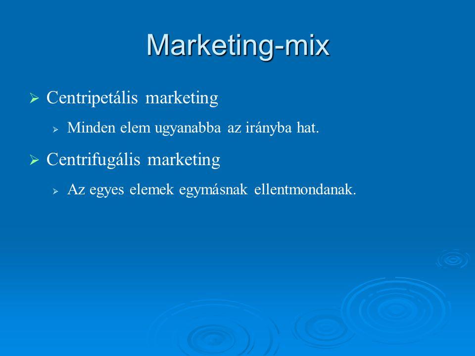Marketing-mix   Centripetális marketing   Minden elem ugyanabba az irányba hat.   Centrifugális marketing   Az egyes elemek egymásnak ellentmo