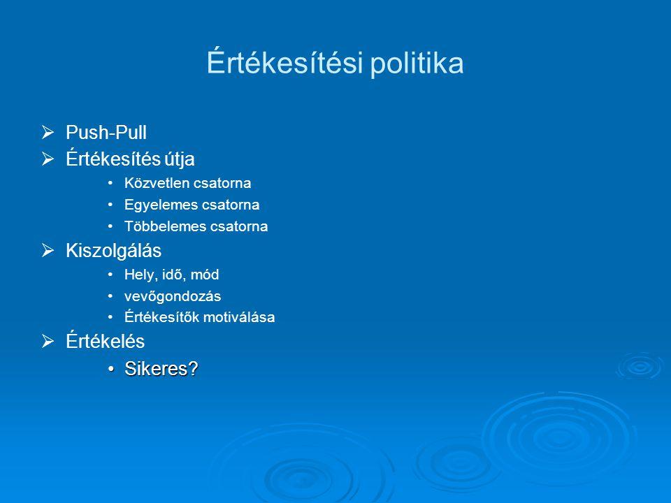Értékesítési politika   Push-Pull   Értékesítés útja Közvetlen csatorna Egyelemes csatorna Többelemes csatorna   Kiszolgálás Hely, idő, mód vevő