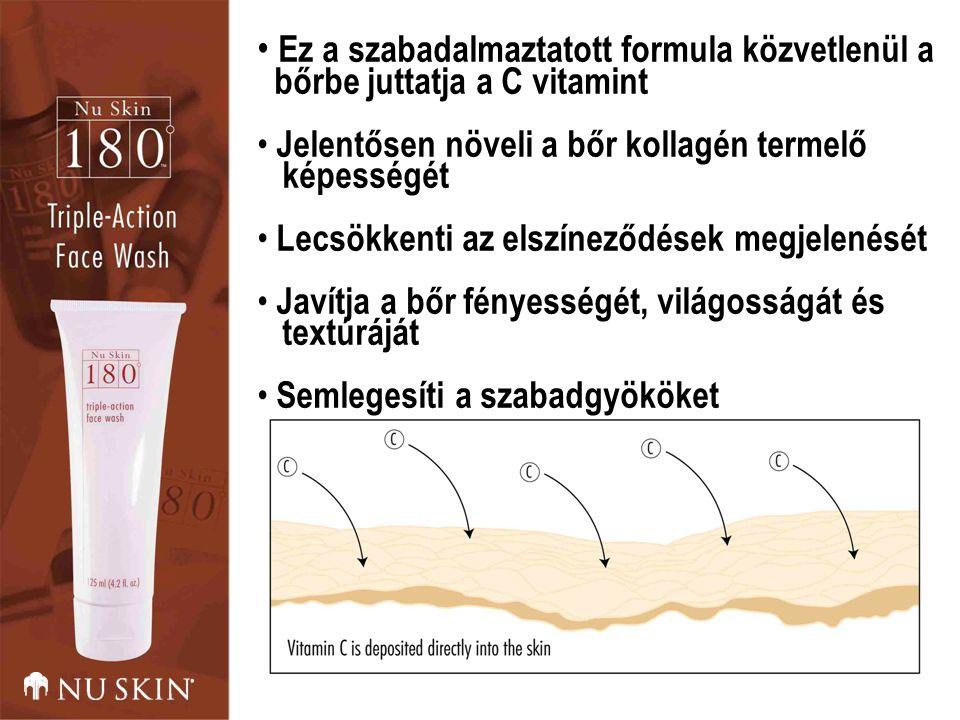 Ez a szabadalmaztatott formula közvetlenül a bőrbe juttatja a C vitamint Jelentősen növeli a bőr kollagén termelő képességét Lecsökkenti az elszíneződések megjelenését Javítja a bőr fényességét, világosságát és textúráját Semlegesíti a szabadgyököket