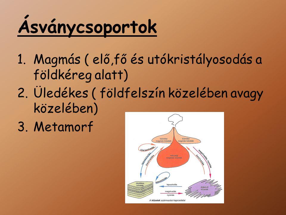 Ásványcsoportok 1.Magmás ( elő,fő és utókristályosodás a földkéreg alatt) 2.Üledékes ( földfelszín közelében avagy közelében) 3.Metamorf