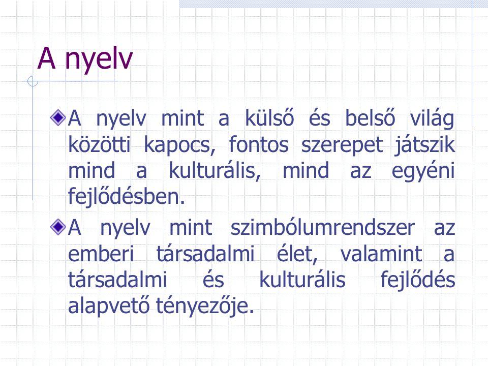 A nyelv A nyelv mint a külső és belső világ közötti kapocs, fontos szerepet játszik mind a kulturális, mind az egyéni fejlődésben. A nyelv mint szimbó