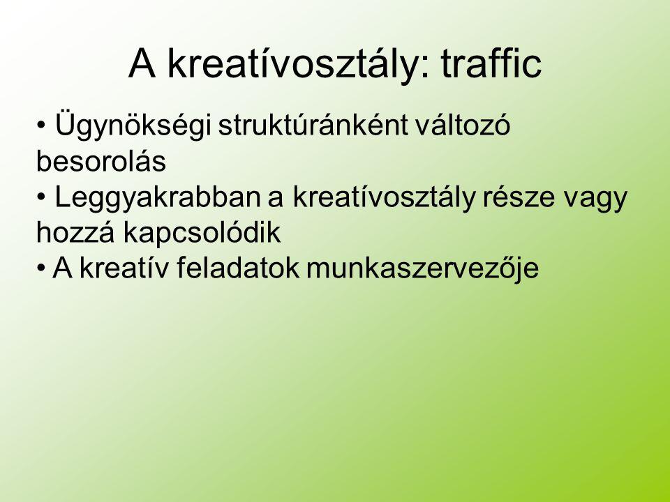 A kreatívosztály: traffic Ügynökségi struktúránként változó besorolás Leggyakrabban a kreatívosztály része vagy hozzá kapcsolódik A kreatív feladatok munkaszervezője