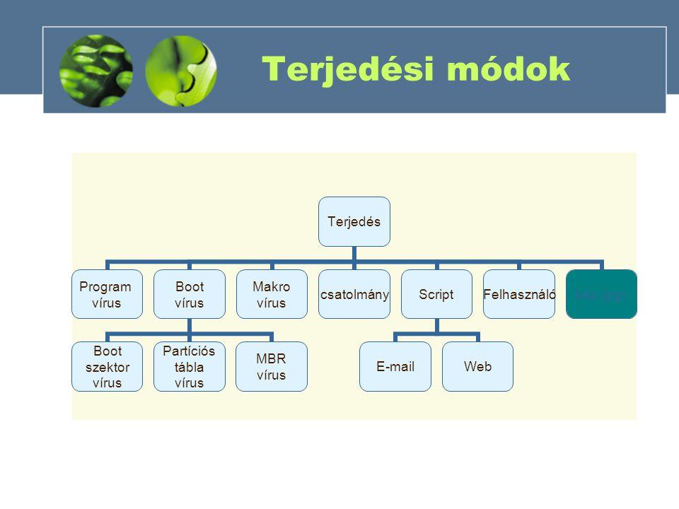 Terjedési módok Terjedés Program vírus Boot vírus Boot szektor vírus Partíciós tábla vírus MBR vírus Makro vírus csatolmányScript E-mailWeb Felhasználókép (jpg)