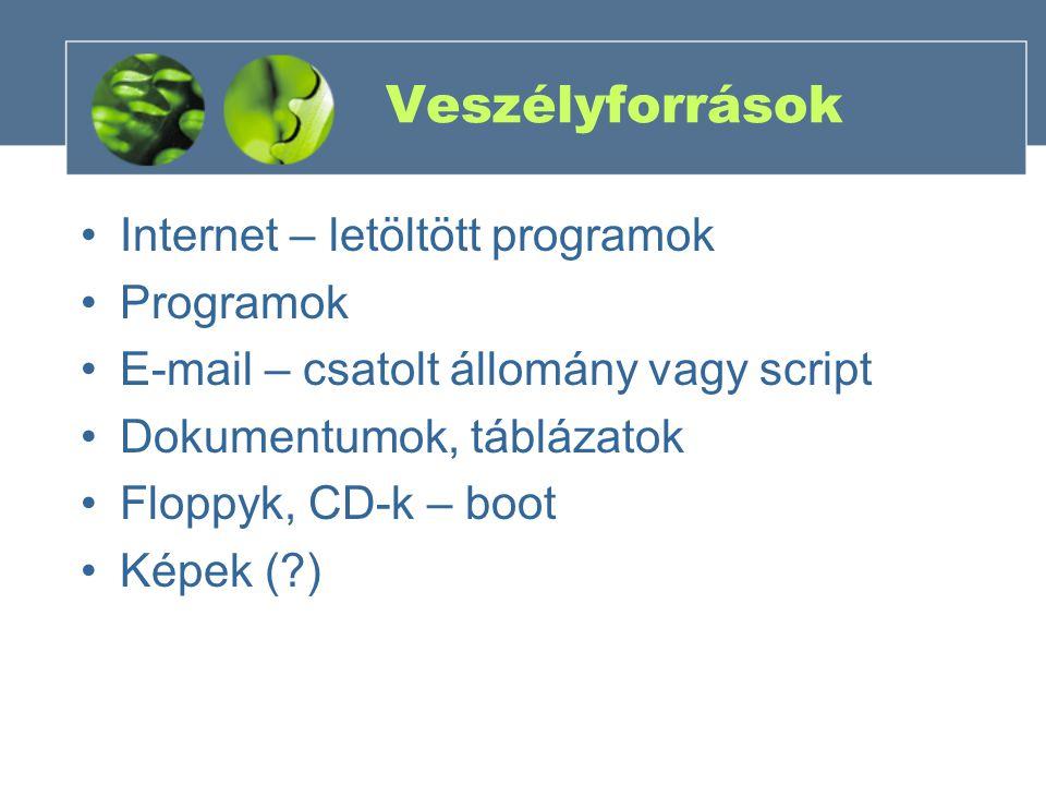 Veszélyforrások Internet – letöltött programok Programok E-mail – csatolt állomány vagy script Dokumentumok, táblázatok Floppyk, CD-k – boot Képek (?)