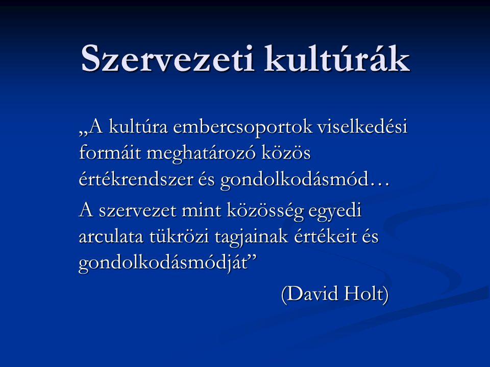 """Szervezeti kultúrák """"A kultúra embercsoportok viselkedési formáit meghatározó közös értékrendszer és gondolkodásmód… A szervezet mint közösség egyedi arculata tükrözi tagjainak értékeit és gondolkodásmódját (David Holt) (David Holt)"""