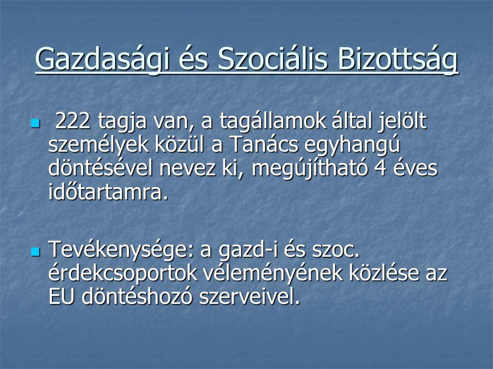 Gazdasági és Szociális Bizottság 222 tagja van, a tagállamok által jelölt személyek közül a Tanács egyhangú döntésével nevez ki, megújítható 4 éves id