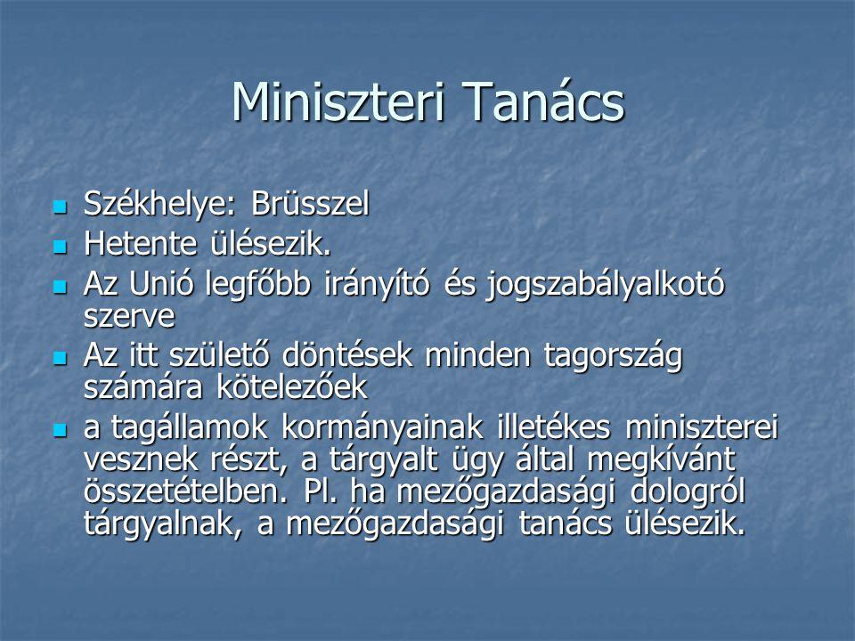 Miniszteri Tanács Székhelye: Brüsszel Székhelye: Brüsszel Hetente ülésezik. Hetente ülésezik. Az Unió legfőbb irányító és jogszabályalkotó szerve Az U