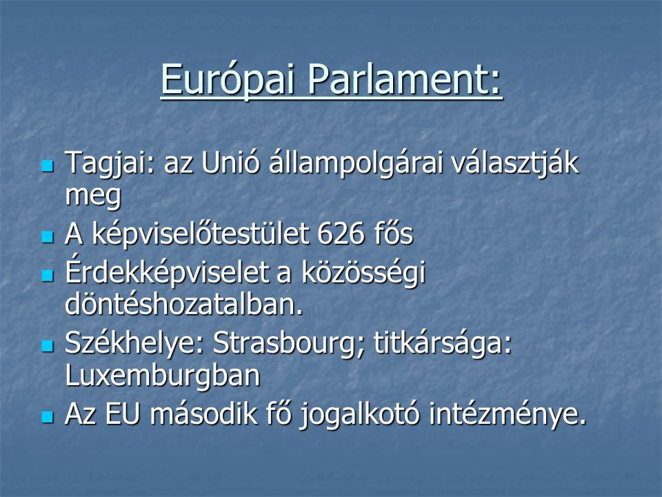 Európai Parlament: Tagjai: az Unió állampolgárai választják meg Tagjai: az Unió állampolgárai választják meg A képviselőtestület 626 fős A képviselőte