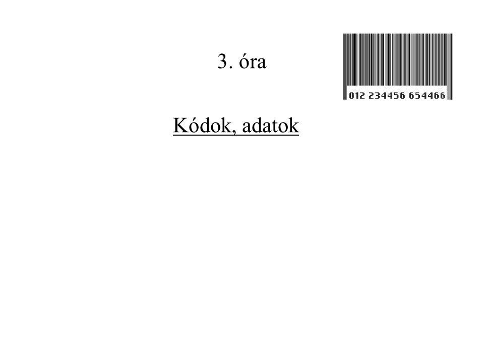 3. óra Kódok, adatok