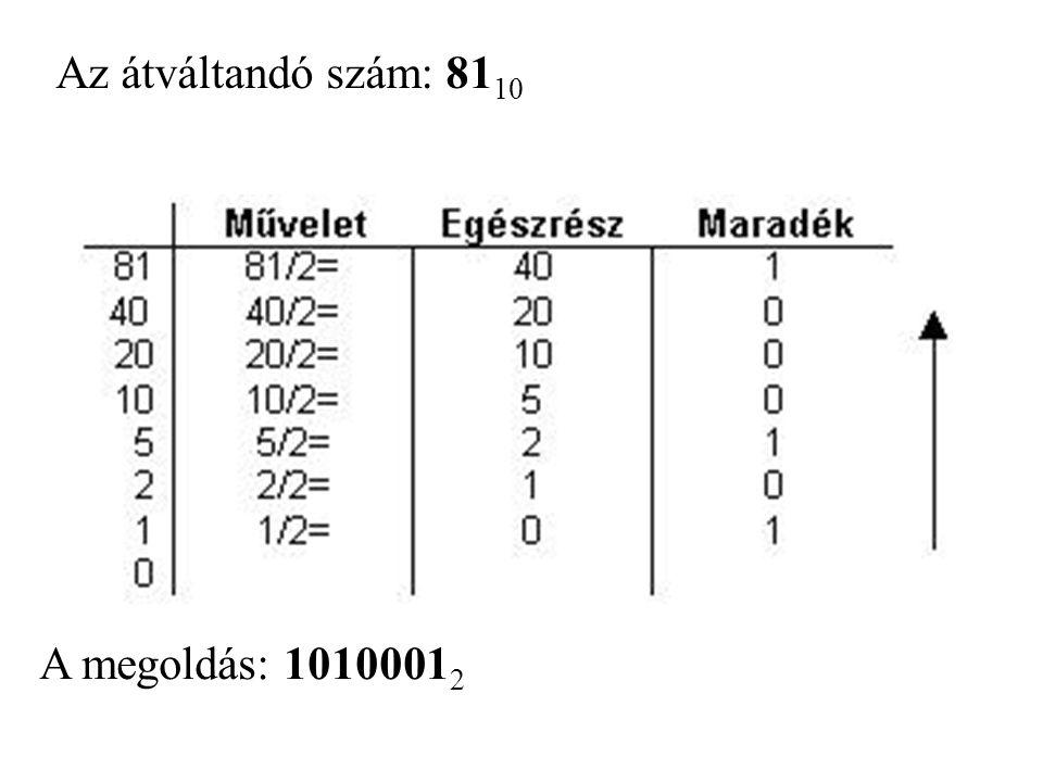 Az átváltandó szám: 81 10 A megoldás: 1010001 2