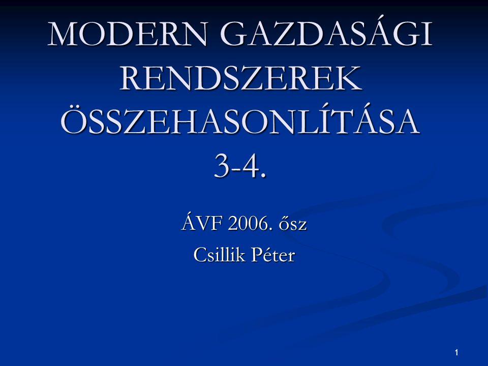 1 MODERN GAZDASÁGI RENDSZEREK ÖSSZEHASONLÍTÁSA 3-4. ÁVF 2006. ősz Csillik Péter