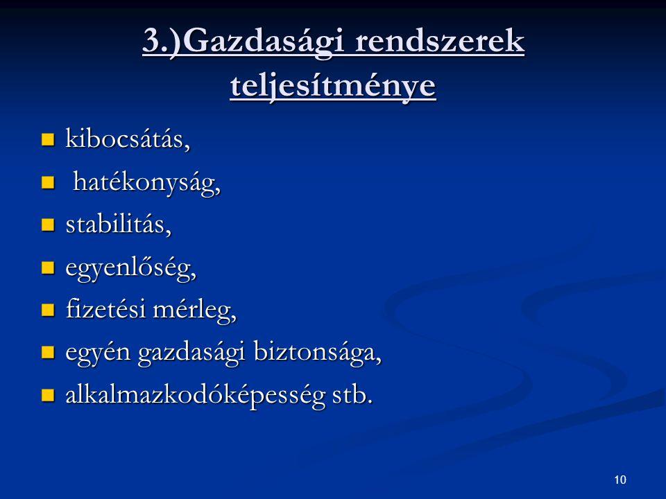 10 3.)Gazdasági rendszerek teljesítménye kibocsátás, kibocsátás, hatékonyság, hatékonyság, stabilitás, stabilitás, egyenlőség, egyenlőség, fizetési mé