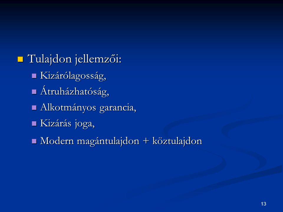 13 Tulajdon jellemzői: Tulajdon jellemzői: Kizárólagosság, Kizárólagosság, Átruházhatóság, Átruházhatóság, Alkotmányos garancia, Alkotmányos garancia,