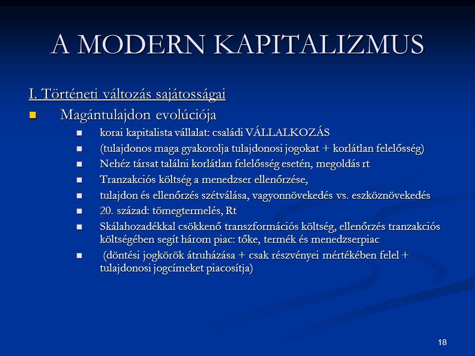18 A MODERN KAPITALIZMUS I. Történeti változás sajátosságai Magántulajdon evolúciója Magántulajdon evolúciója korai kapitalista vállalat: családi VÁLL
