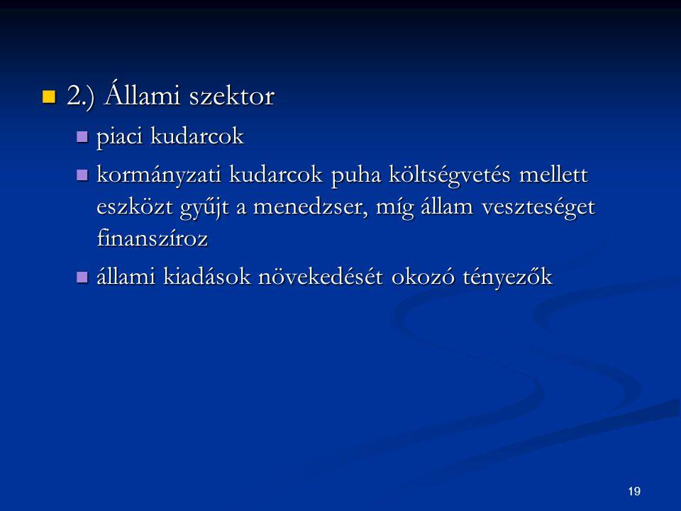 19 2.) Állami szektor 2.) Állami szektor piaci kudarcok piaci kudarcok kormányzati kudarcok puha költségvetés mellett eszközt gyűjt a menedzser, míg á