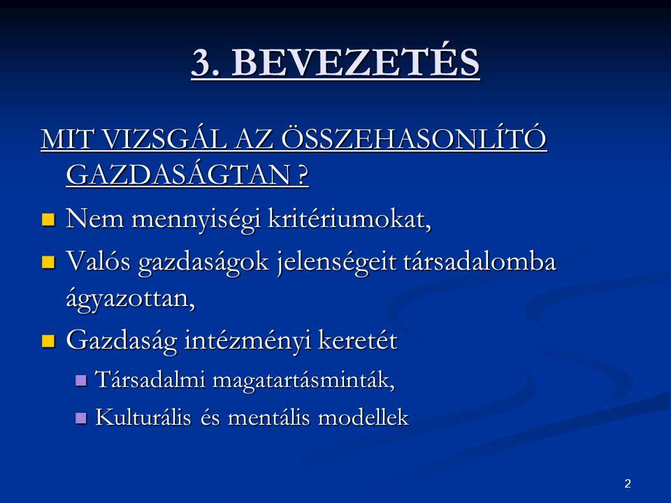 2 3. BEVEZETÉS MIT VIZSGÁL AZ ÖSSZEHASONLÍTÓ GAZDASÁGTAN ? Nem mennyiségi kritériumokat, Nem mennyiségi kritériumokat, Valós gazdaságok jelenségeit tá