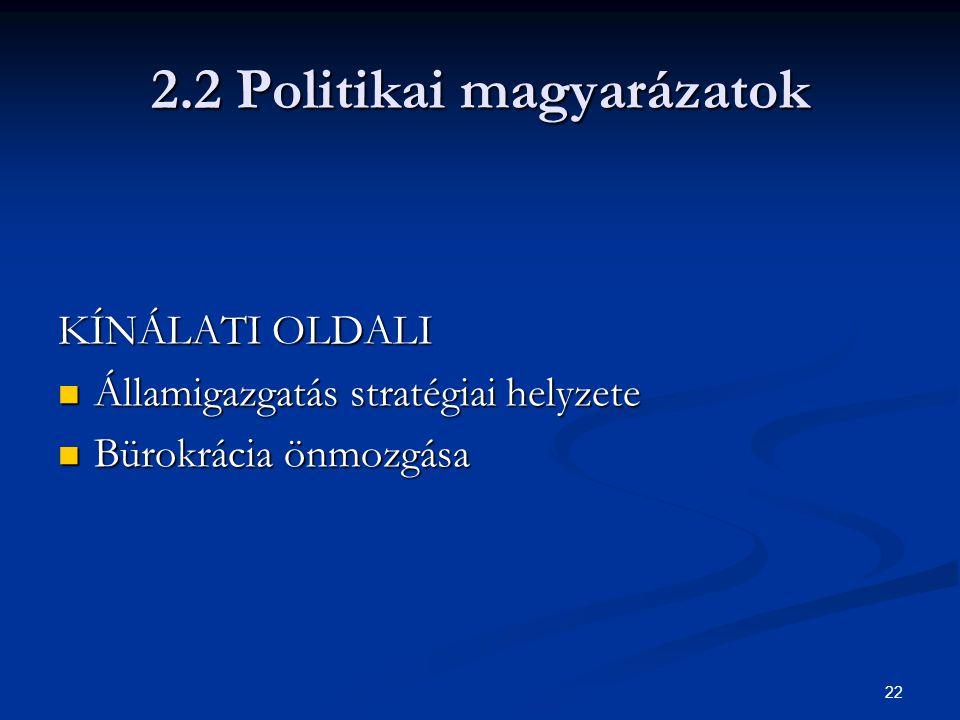 22 2.2 Politikai magyarázatok KÍNÁLATI OLDALI Államigazgatás stratégiai helyzete Államigazgatás stratégiai helyzete Bürokrácia önmozgása Bürokrácia ön