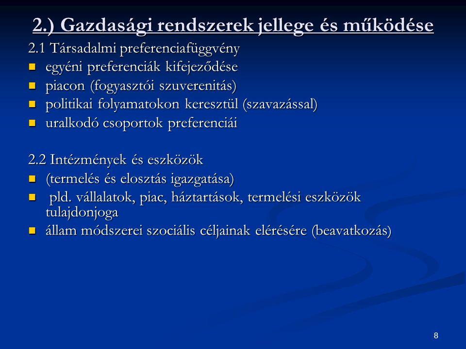 8 2.) Gazdasági rendszerek jellege és működése 2.1 Társadalmi preferenciafüggvény egyéni preferenciák kifejeződése egyéni preferenciák kifejeződése pi