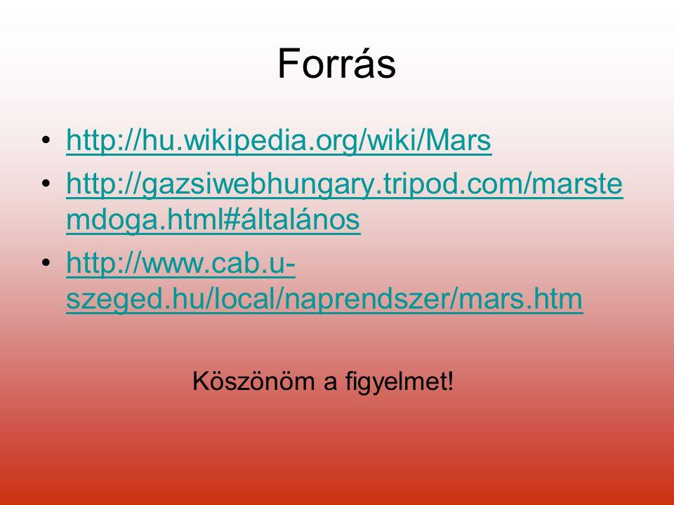 Forrás http://hu.wikipedia.org/wiki/Mars http://gazsiwebhungary.tripod.com/marste mdoga.html#általánoshttp://gazsiwebhungary.tripod.com/marste mdoga.html#általános http://www.cab.u- szeged.hu/local/naprendszer/mars.htmhttp://www.cab.u- szeged.hu/local/naprendszer/mars.htm Köszönöm a figyelmet!
