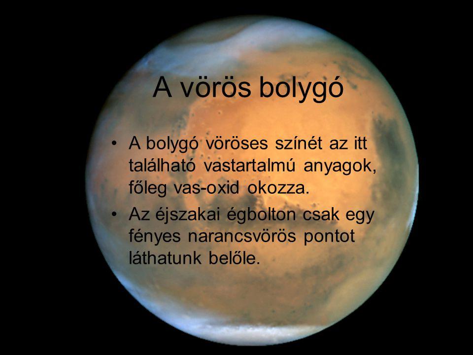 A vörös bolygó A bolygó vöröses színét az itt található vastartalmú anyagok, főleg vas-oxid okozza.