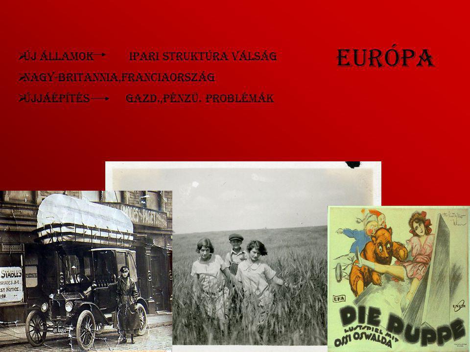 Európa  Új államok ipari struktúra válság  Nagy-Britannia,Franciaország  Újjáépítés gazd.,pénzü.