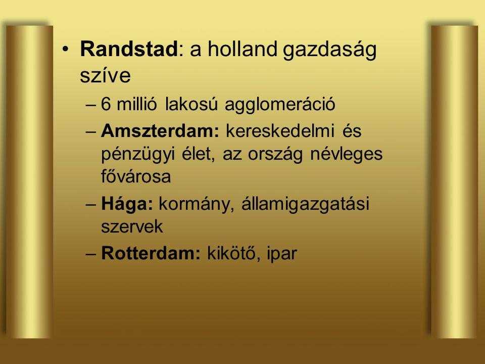 Randstad: a holland gazdaság szíve –6 millió lakosú agglomeráció –Amszterdam: kereskedelmi és pénzügyi élet, az ország névleges fővárosa –Hága: kormán