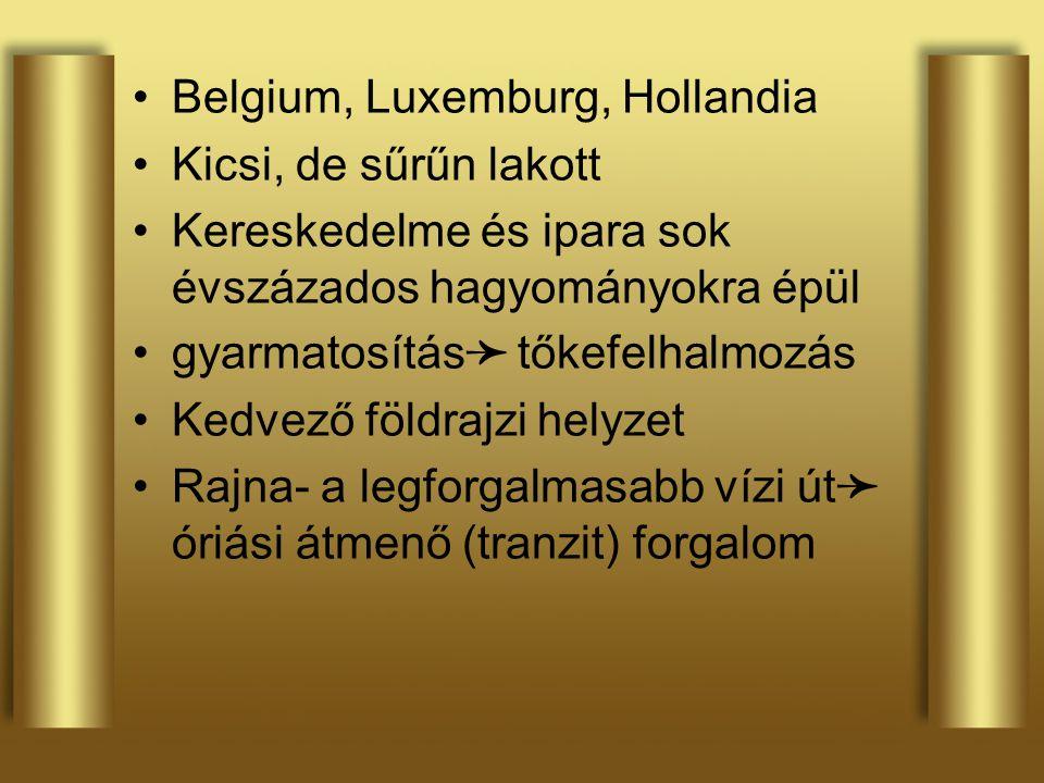Belgium, Luxemburg, Hollandia Kicsi, de sűrűn lakott Kereskedelme és ipara sok évszázados hagyományokra épül gyarmatosítás ➛ tőkefelhalmozás Kedvező f