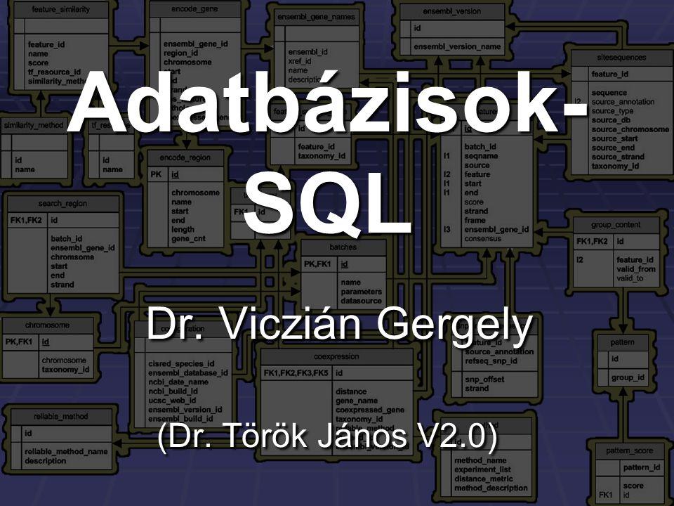 Adatbázisok- SQL Dr. Viczián Gergely (Dr. Török János V2.0)