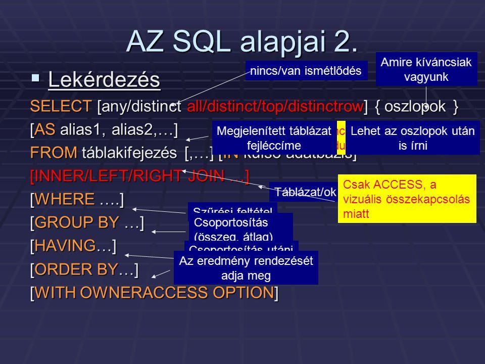 AZ SQL alapjai 2.  Lekérdezés SELECT [any/distinct all/distinct/top/distinctrow] { oszlopok } [AS alias1, alias2,…] FROM táblakifejezés [,…] [IN küls