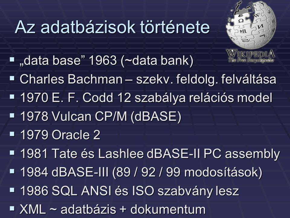"""Az adatbázisok története  """"data base"""" 1963 (~data bank)  Charles Bachman – szekv. feldolg. felváltása  1970 E. F. Codd 12 szabálya relációs model """