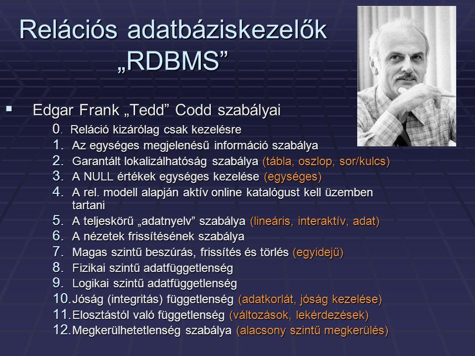 """Relációs adatbáziskezelők """"RDBMS""""  Edgar Frank """"Tedd"""" Codd szabályai 0. Reláció kizárólag csak kezelésre 1. Az egységes megjelenésű információ szabál"""