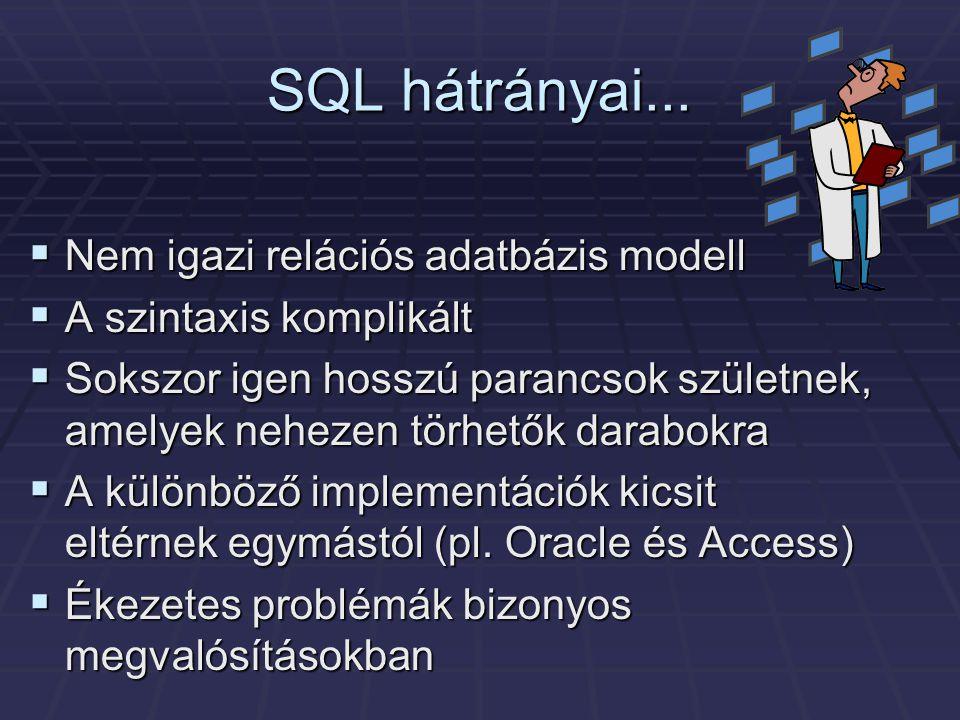 SQL hátrányai...  Nem igazi relációs adatbázis modell  A szintaxis komplikált  Sokszor igen hosszú parancsok születnek, amelyek nehezen törhetők da