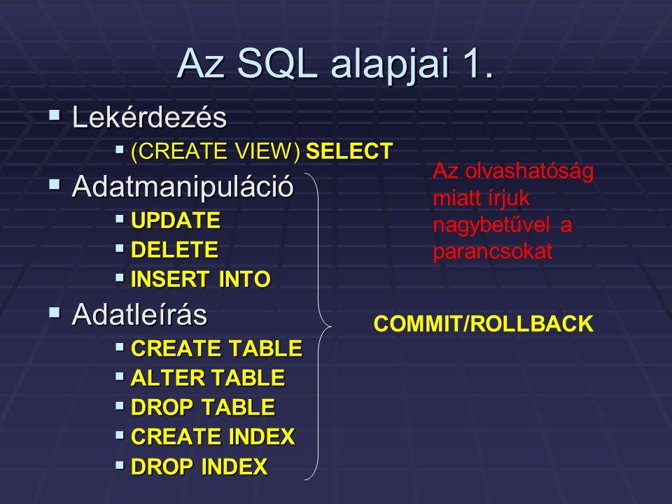 Az SQL alapjai 1.  Lekérdezés  (CREATE VIEW) SELECT  Adatmanipuláció  UPDATE  DELETE  INSERT INTO  Adatleírás  CREATE TABLE  ALTER TABLE  DR