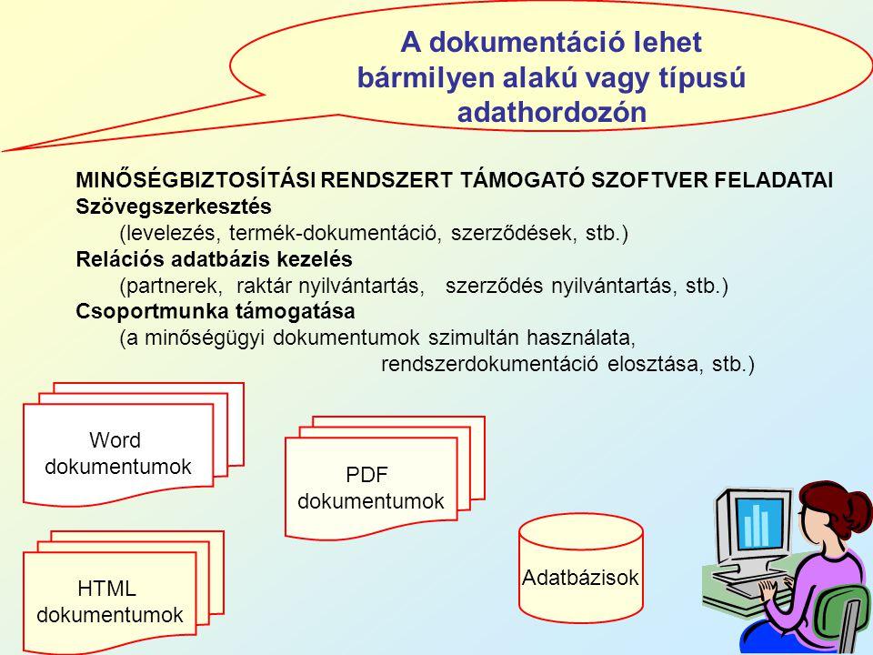 A dokumentáció lehet bármilyen alakú vagy típusú adathordozón Adatbázisok Word dokumentumok PDF dokumentumok HTML dokumentumok MINŐSÉGBIZTOSÍTÁSI REND