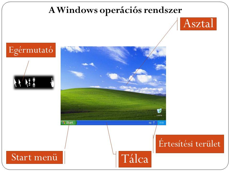 A Windows operációs rendszer Asztal Tálca Start menü Értesítési terület Egérmutató