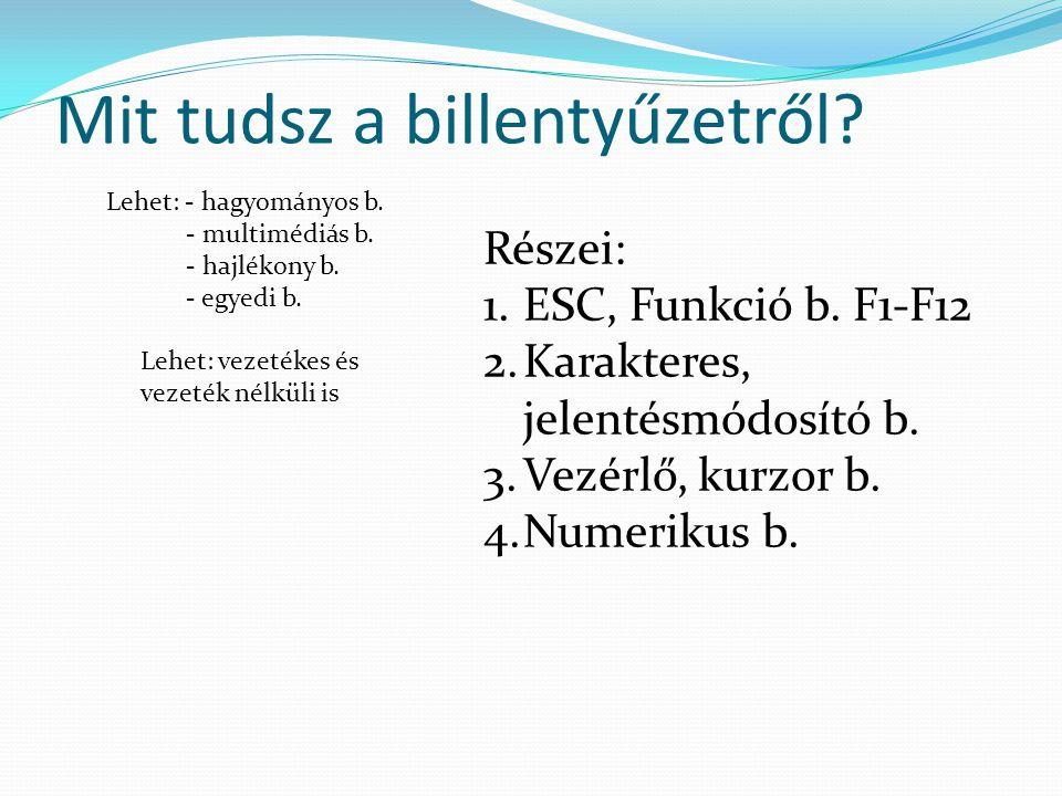 Mit tudsz a billentyűzetről? Lehet: - hagyományos b. - multimédiás b. - hajlékony b. - egyedi b. Lehet: vezetékes és vezeték nélküli is Részei: 1.ESC,