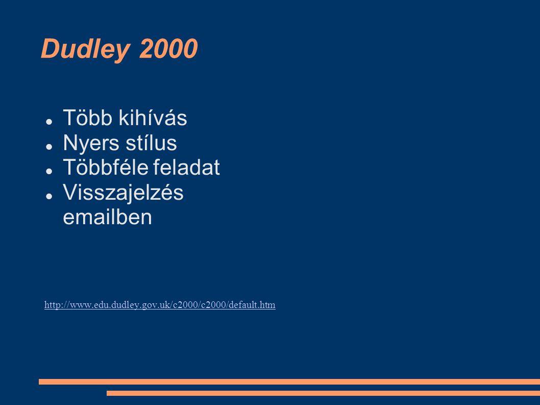 Dudley 2000 Több kihívás Nyers stílus Többféle feladat Visszajelzés emailben http://www.edu.dudley.gov.uk/c2000/c2000/default.htm