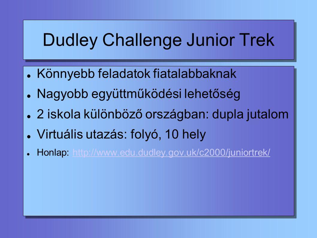 Dudley Challenge Junior Trek Könnyebb feladatok fiatalabbaknak Nagyobb együttműködési lehetőség 2 iskola különböző országban: dupla jutalom Virtuális utazás: folyó, 10 hely Honlap: http://www.edu.dudley.gov.uk/c2000/juniortrek/http://www.edu.dudley.gov.uk/c2000/juniortrek/
