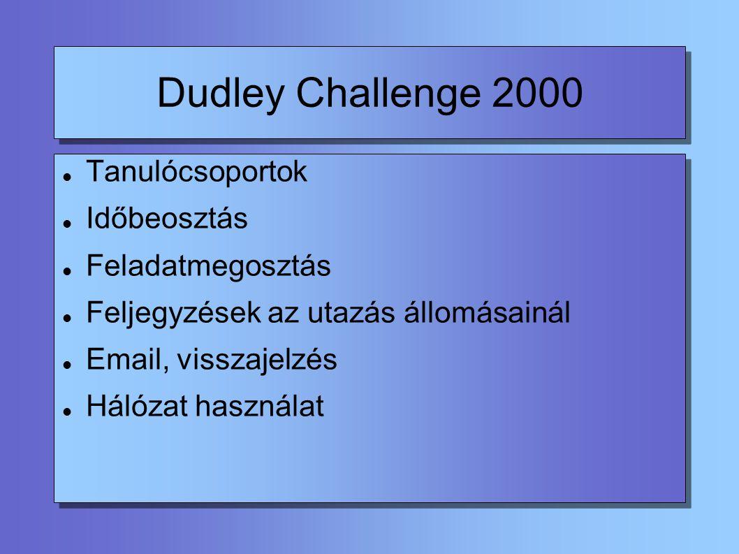 Dudley Challenge 2000 Tanulócsoportok Időbeosztás Feladatmegosztás Feljegyzések az utazás állomásainál Email, visszajelzés Hálózat használat