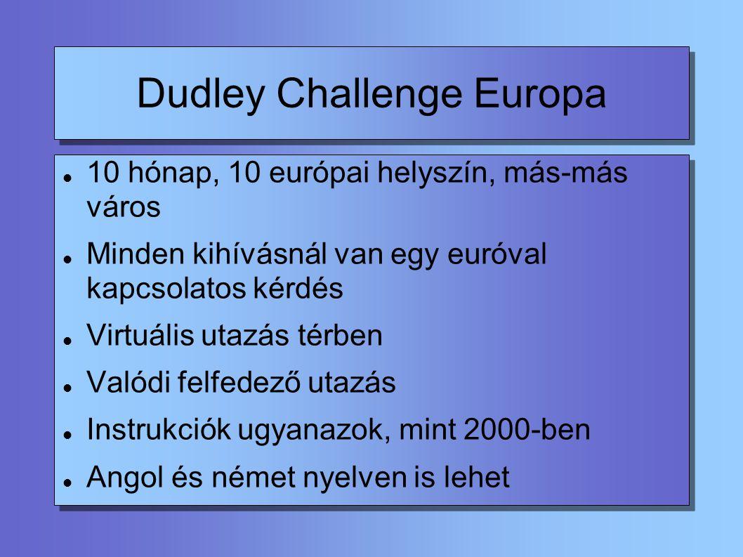 Dudley Challenge Europa Animációkkal tele Szebb, mint a 2000 Látszólag egyszerűbb, valójában bonyolultabb kérdések Nehéz feladatok Igazi csapatmunkát igényel Honlap: http://www.edu.dudley.gov.uk/c2000/europa/cEuropa/index.htmlhttp://www.edu.dudley.gov.uk/c2000/europa/cEuropa/index.html